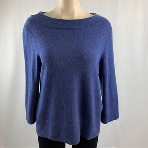 Boden Blue/Grey Cashmere 3/4 Sleeve Sweater US 10